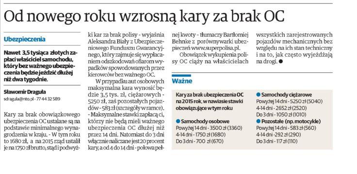 """""""Od nowego roku wzrosną kary za brak OC"""" – Nowa Trybuna Opolska"""