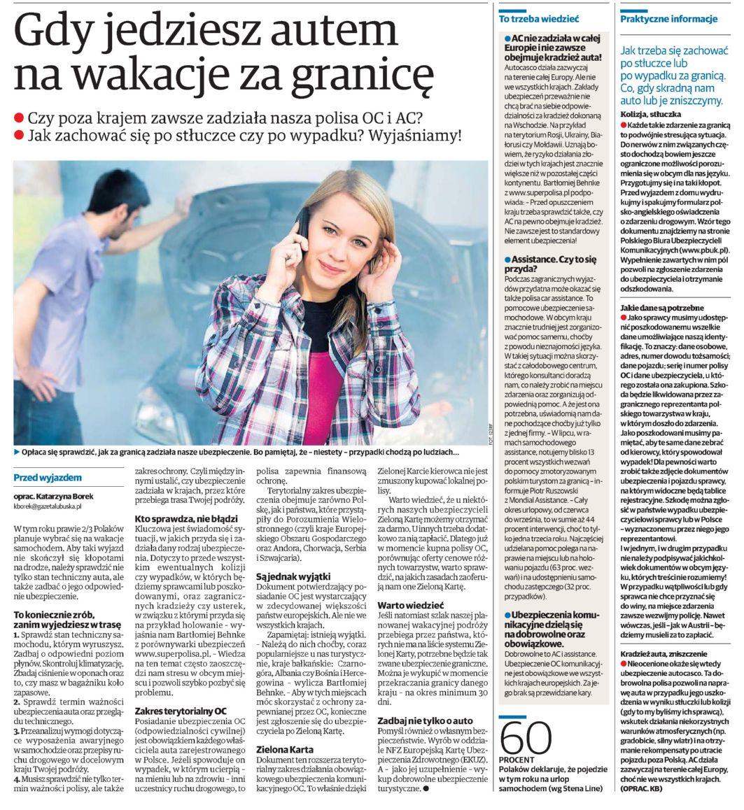 """""""Gdy jedziesz autem na wakacje za granicę"""" – Polska – Dziennik Zachodni"""