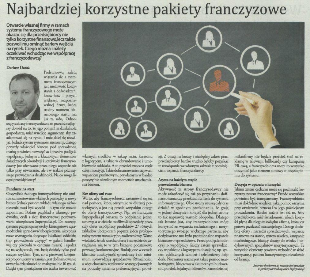 """""""Najbardziej korzystne pakiety franczyzowe"""" – Gazeta Finansowa"""