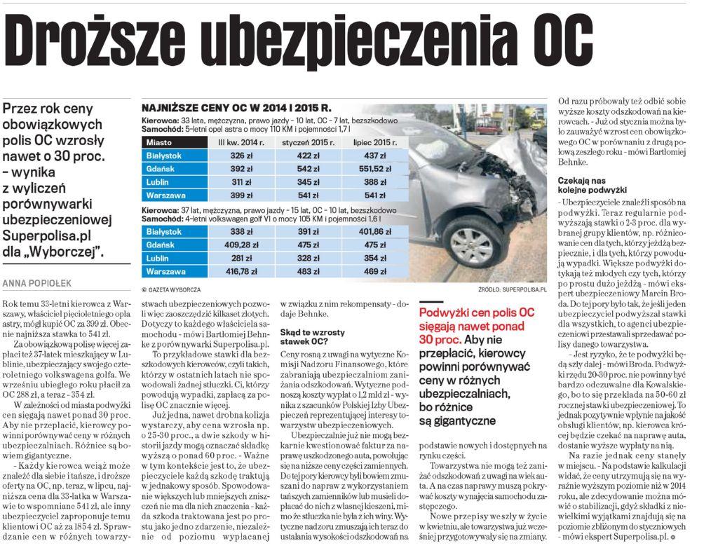 """""""Droższe ubezpieczenia OC"""" – Gazeta Wyborcza"""