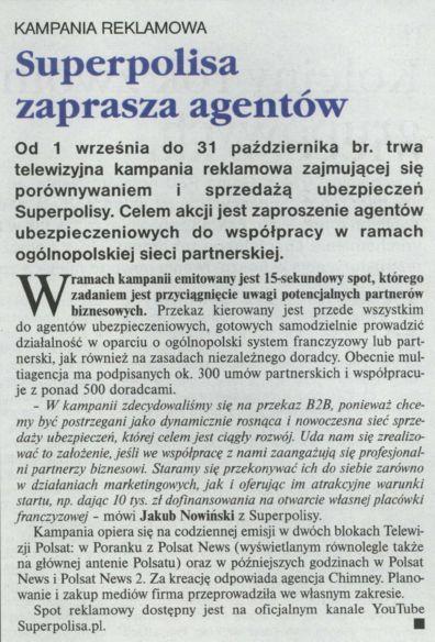 """""""Superpolisa zaprasza agentów"""" – Gazeta Ubezpieczeniowa"""