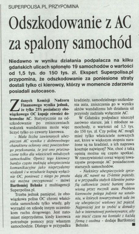 """""""Odszkodowanie z AC za spalony samochód"""" – Gazeta Ubezpieczeniowa"""
