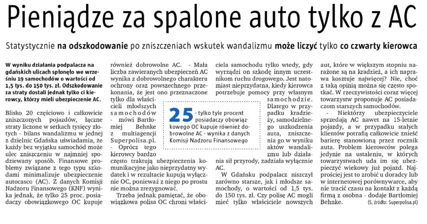 """""""Pieniądze za spalone auto tylko z AC"""" – Express Bydgoski"""