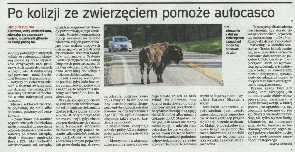 """""""Po kolizji ze zwierzęciem pomoże autocasco"""" – Rzeczpospolita"""