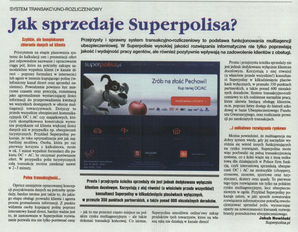 """""""Jak sprzedaje Superpolisa?"""" – Gazeta Ubezpieczeniowa"""