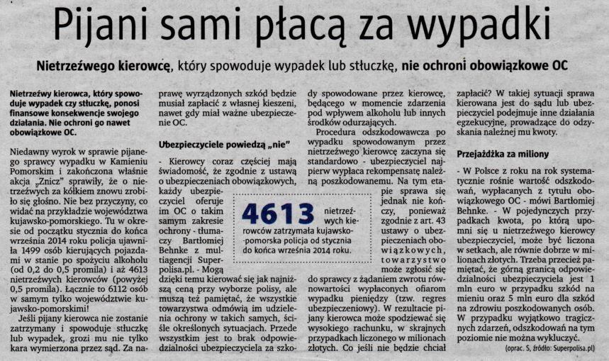 """""""Pijani sami płacą za wypadki"""" – Express Bydgoski"""