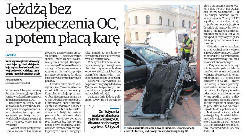 """""""Jeźdżą bez ubezpieczenia OC, a potem płacą karę"""" – Dziennik Łódzki"""