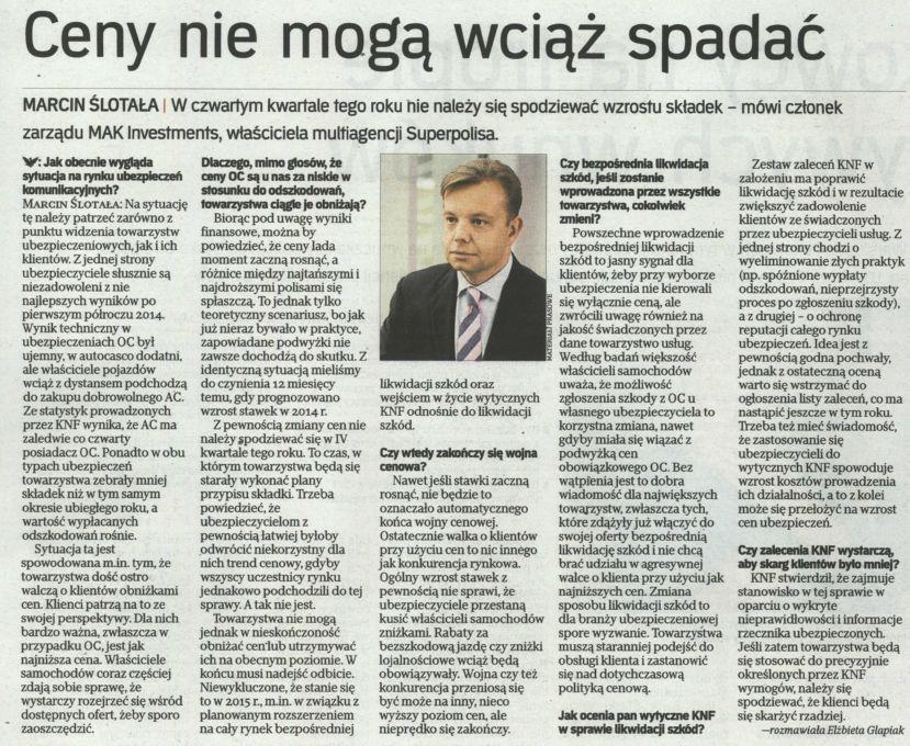 """""""Ceny nie mogą wciąż spadać"""" – Rzeczpospolita"""