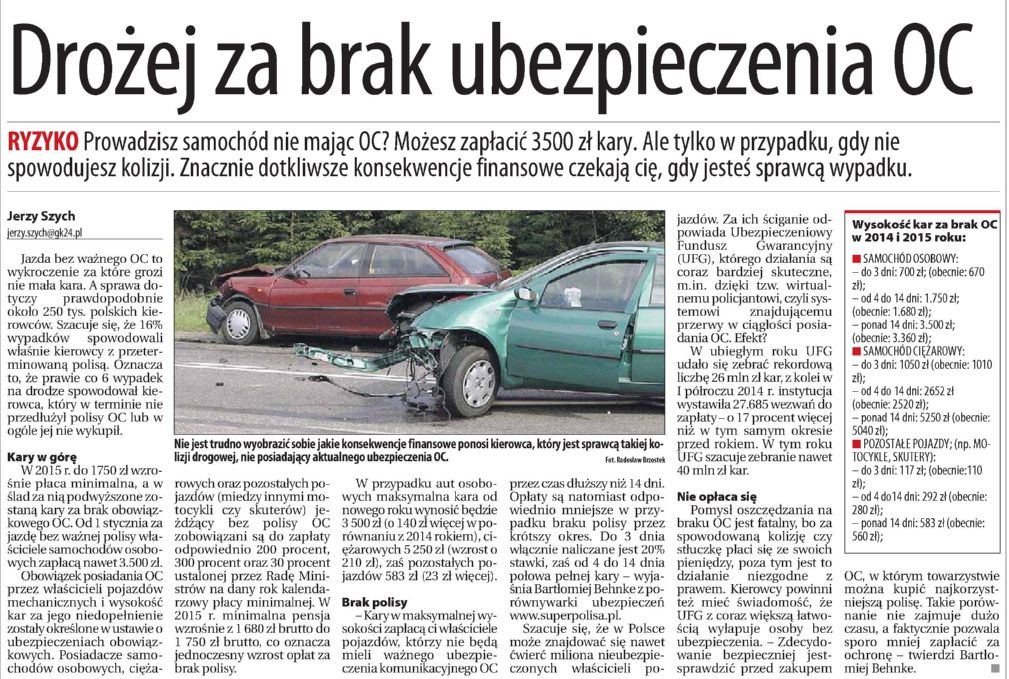 """""""Drożej za brak ubezpieczenia OC"""" – Głos Koszaliński"""