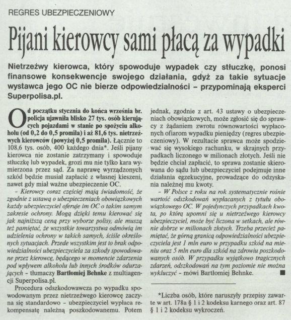 """""""Pijani kierowcy sami płacą za wypadki"""" – Gazeta Ubezpieczeniowa"""