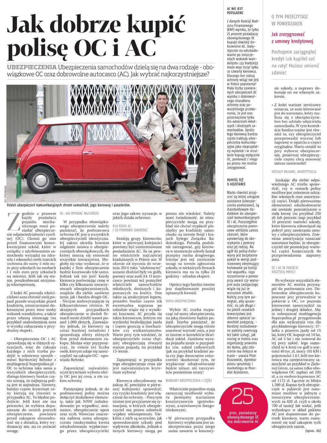 """""""Jak dobrze kupić polisę OC i AC"""" – Dziennik Wschodni"""