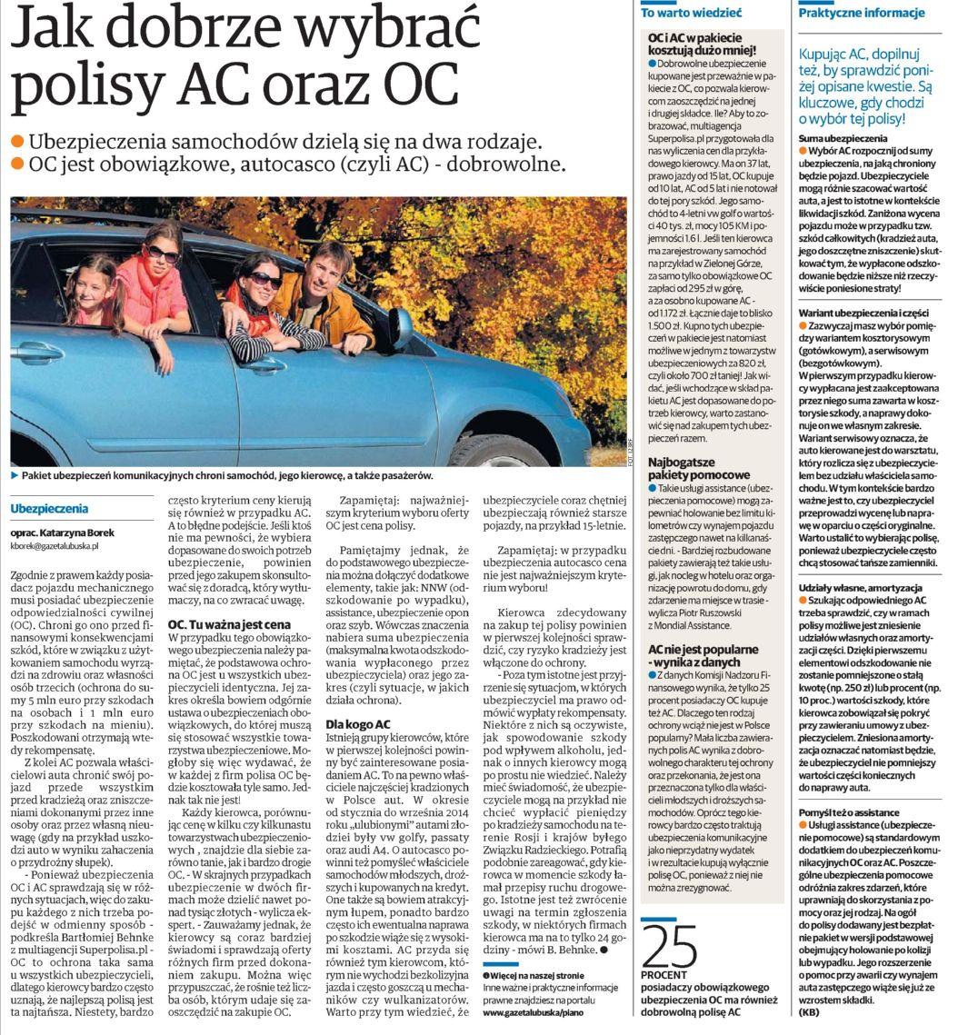 """""""Jak dobrze wybrać polisy AC oraz OC"""" – Gazeta Lubuska"""