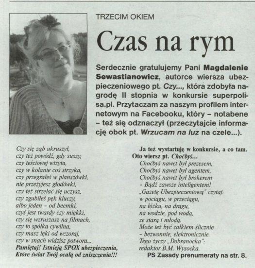 """""""Czas na rym"""" – Gazeta Ubezpieczeniowa"""
