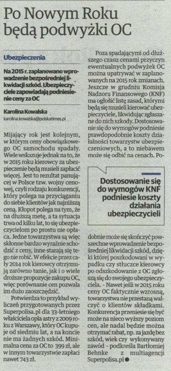 """""""Po Nowym Roku będą podwyżki OC"""" – Głos Wielkopolski"""