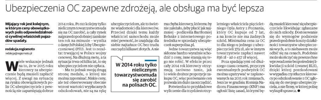 """""""Ubezpieczenia OC zapewne zdrożeją, ale obsługa ma być lepsza"""" – Gazeta Lubuska"""
