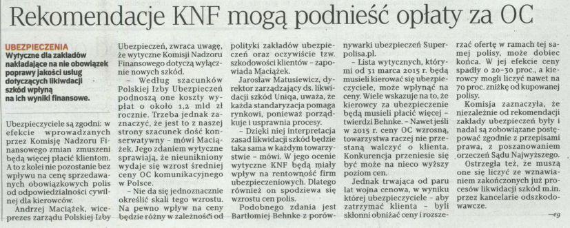 """""""Rekomendacje KNF mogą podnieść opłaty za OC"""" – Rzeczpospolita"""