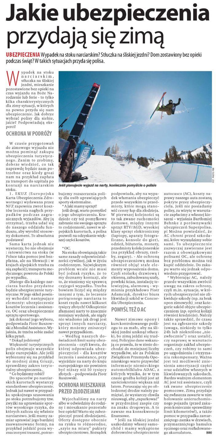 """""""Jakie ubezpieczenia przydają się zimą"""" – Dziennik Wschodni"""