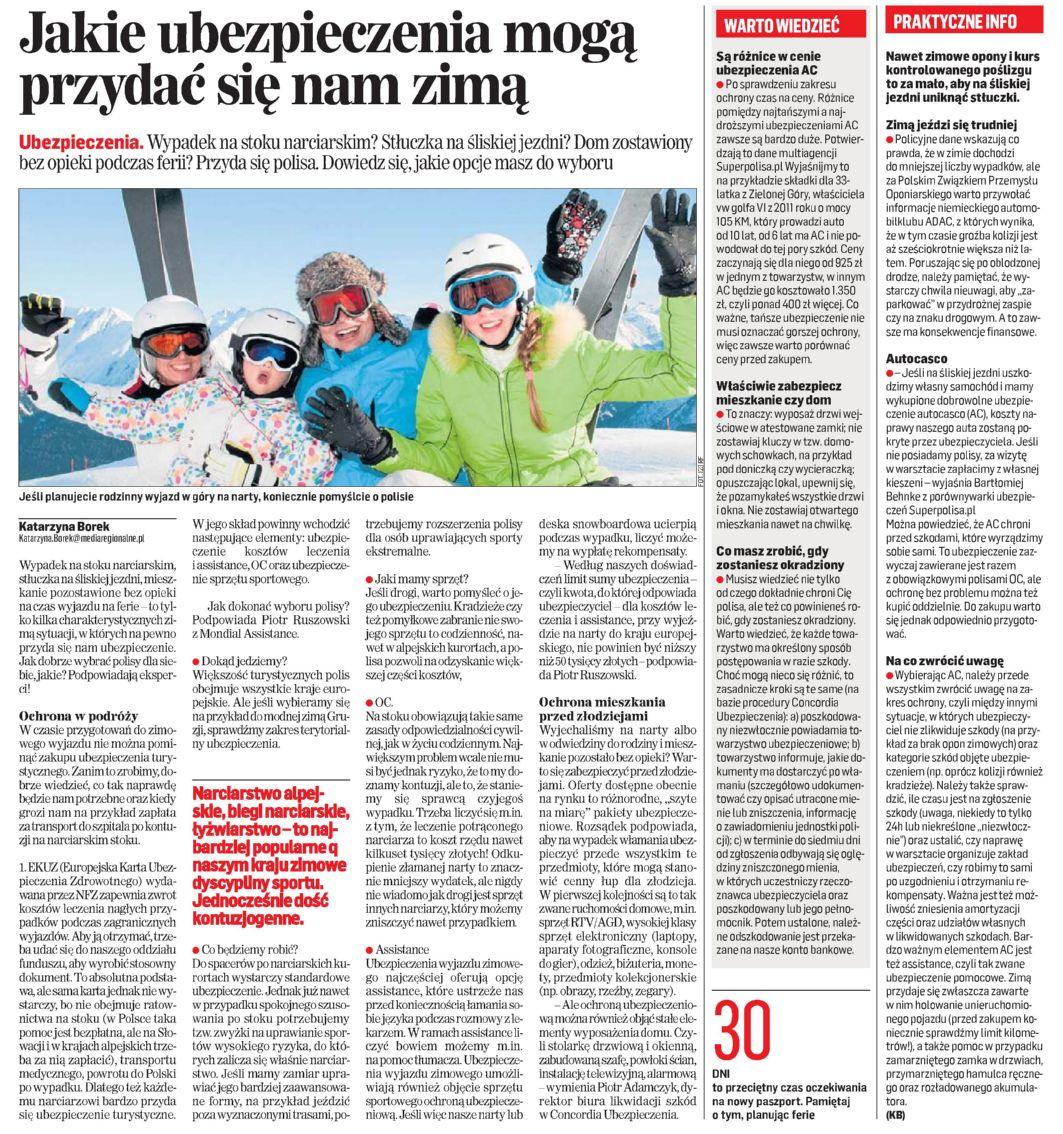 """""""Jakie ubezpieczenia przydają się zimą"""" – Gazeta Współczesna"""