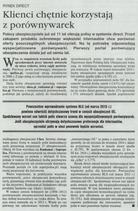 """""""Klienci chętnie korzystają z porównywarek"""" – Gazeta Ubezpieczeniowa"""