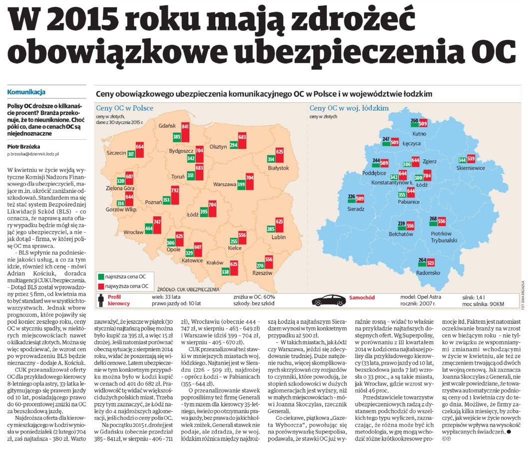"""""""W 2015 roku mają zdrożeć obowiązkowe ubezpieczenia OC"""" – Dziennik Łódzki"""