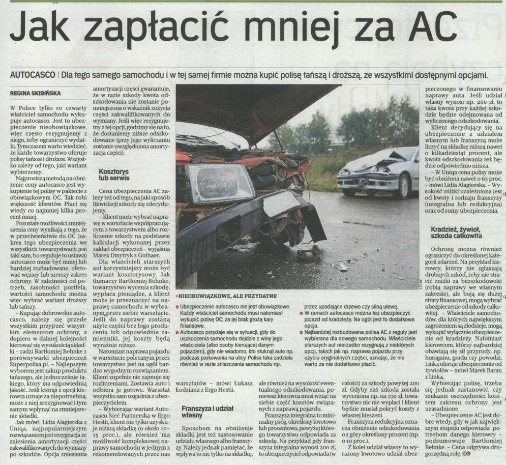 """""""Jak zapłacić mniej za AC"""" – Rzeczpospolita"""