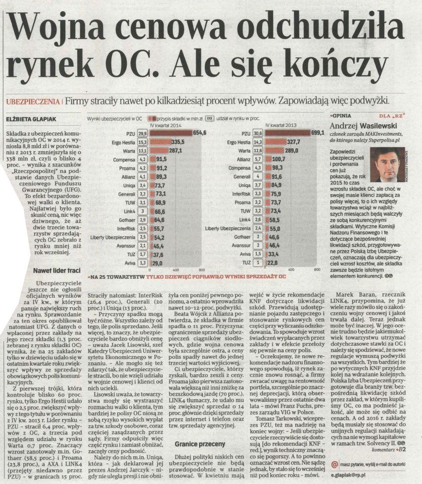 """""""Wojna cenowa odchudza rynek OC. Ale się kończy"""" – Rzeczpospolita"""