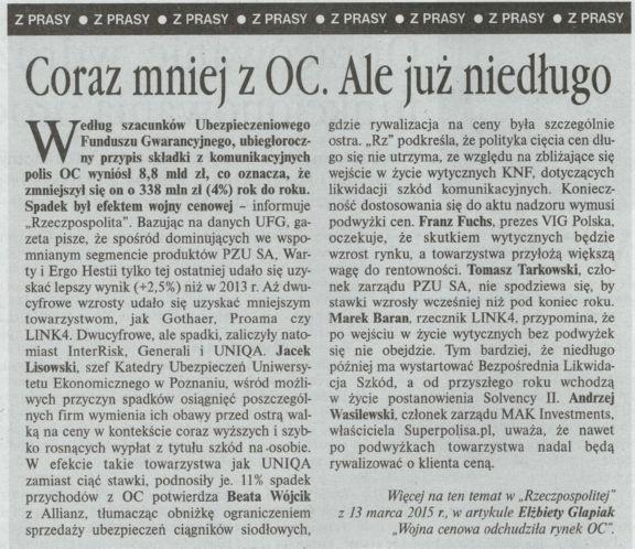 """""""Coraz mniej z OC. Ale już niedługo"""" – Gazeta Ubezpieczeniowa"""