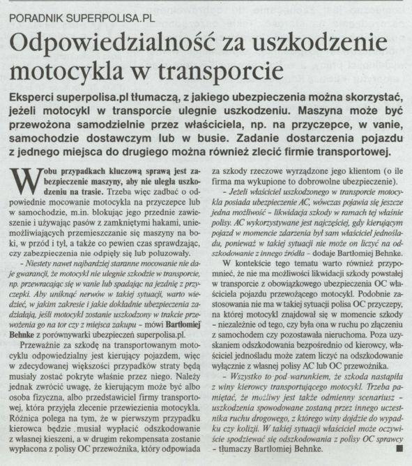 """""""Odpowiedzialność za uszkodzenie motocykla w transporcie"""" – Gazeta Ubezpieczeniowa"""