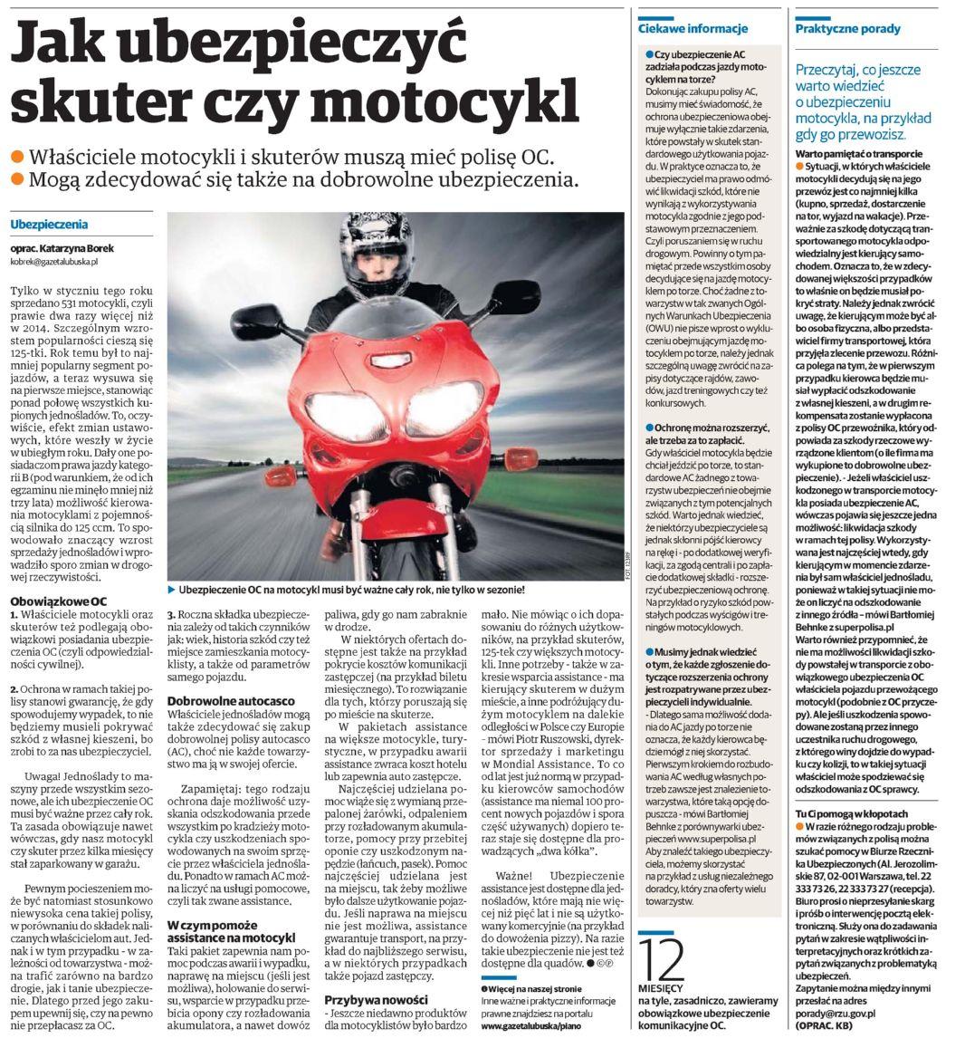"""""""Jak ubezpieczyć skuter czy motocykl"""" – Gazeta Lubuska"""
