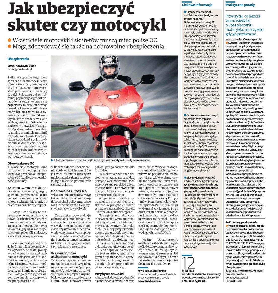 """""""Jak ubezpieczyć skuter czy motocykl"""" – Głos Koszliński"""