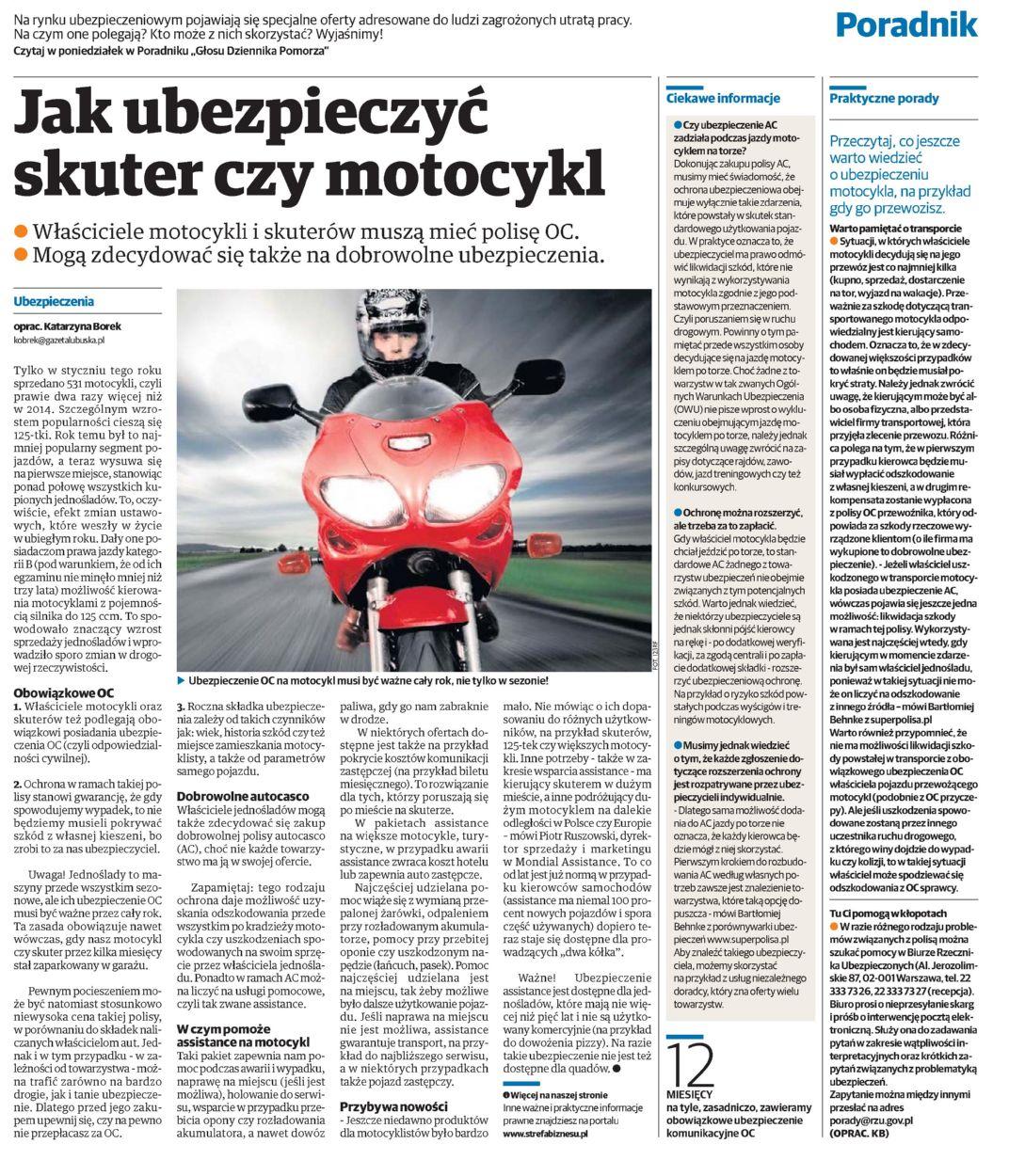 """""""Jak ubezpieczyć skuter czy motocykl"""" – Głos Szczeciński"""