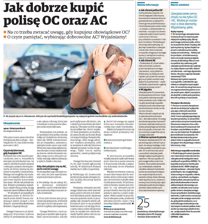 """""""Jak dobrze kupić polisę OC oraz AC"""" – Głos Szczeciński"""