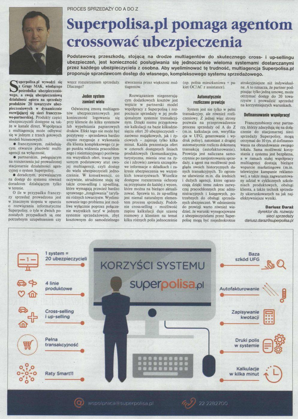 """""""Superpolisa.pl pomaga agentom crossować ubezpieczenia"""" – Gazeta Ubezpieczeniowa"""