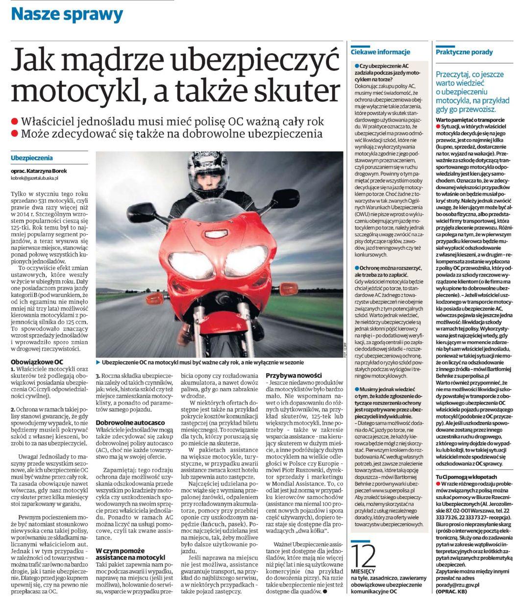 """""""Jak mądrze ubezpieczyć motocykl, a także skuter"""" – Dziennik Zachodni"""