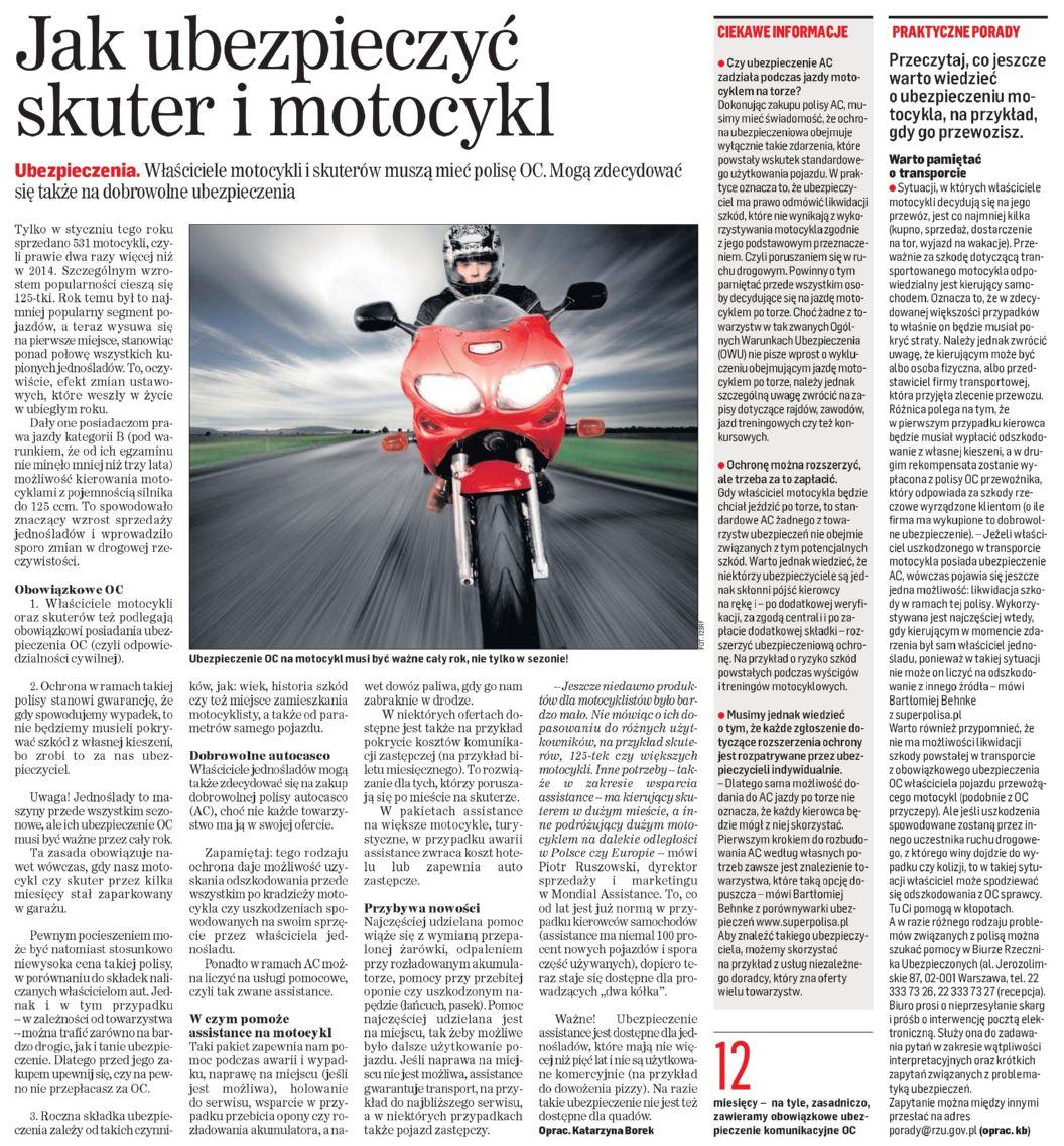 """""""Jak ubezpieczyć skuter i motocykl"""" – Dziennik Polski"""