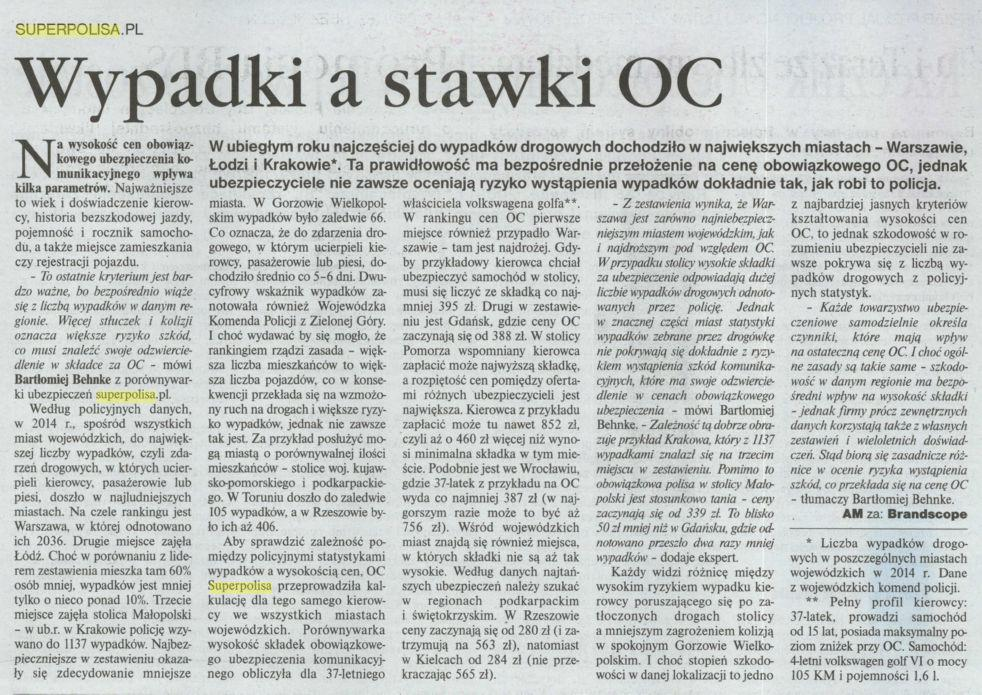 """""""Wypadki a stawki OC"""" – Gazeta Ubezpieczeniowa"""