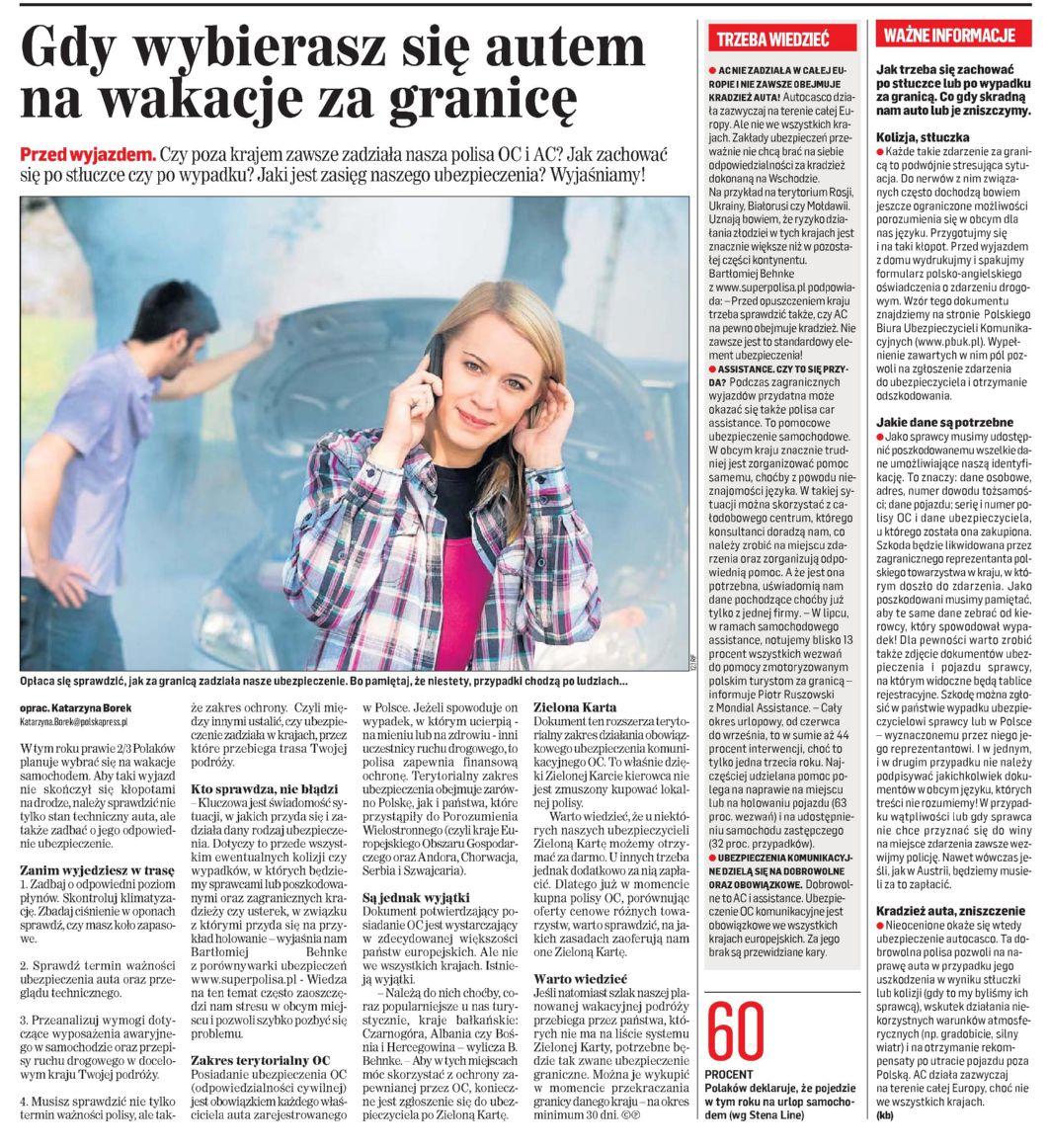 """""""Gdy wybierasz się autem na wakacje za granicę"""" – Gazeta Współczesna"""