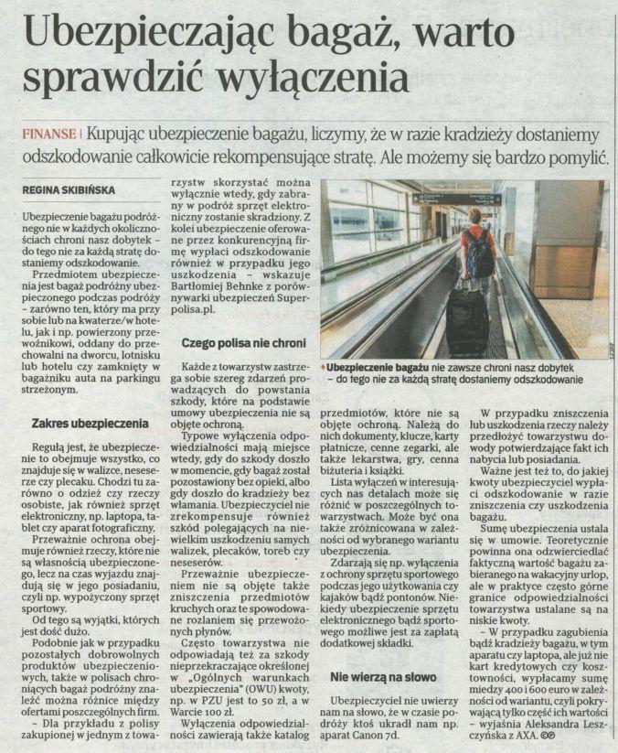 """""""Ubezpieczając bagaż, warto sprawdzić wyłączenia"""" – Rzeczpospolita"""