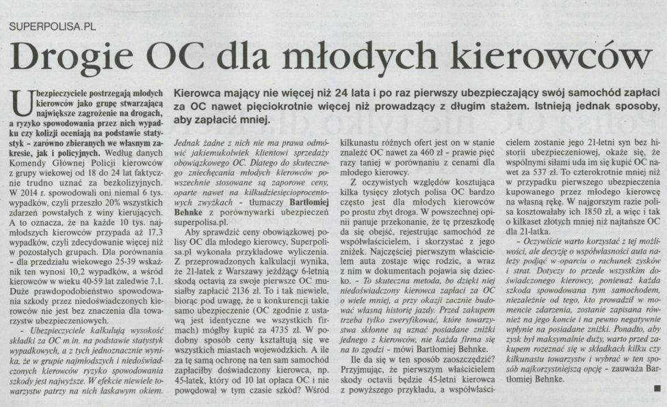 """""""Drogie OC dla młodych kierowców"""" – Gazeta Ubezpieceniowa"""