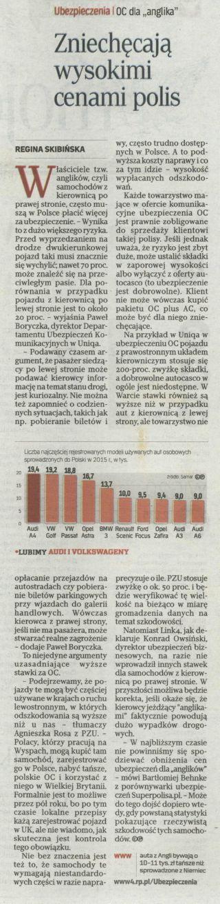 """""""Zniechęcają wysokimi cenami polis"""" – Rzeczpospolita"""
