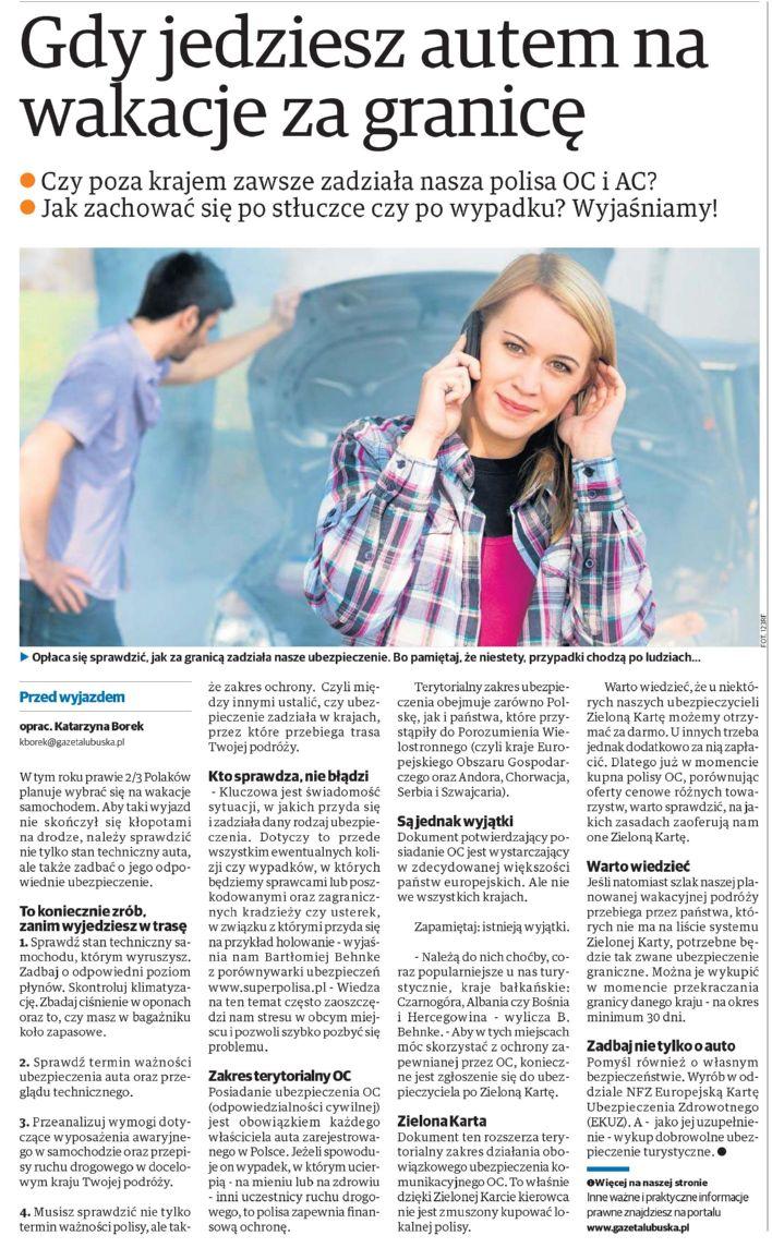 """""""Gdy jedziesz autem na wakacje za granicę"""" – Gazeta Lubuska"""