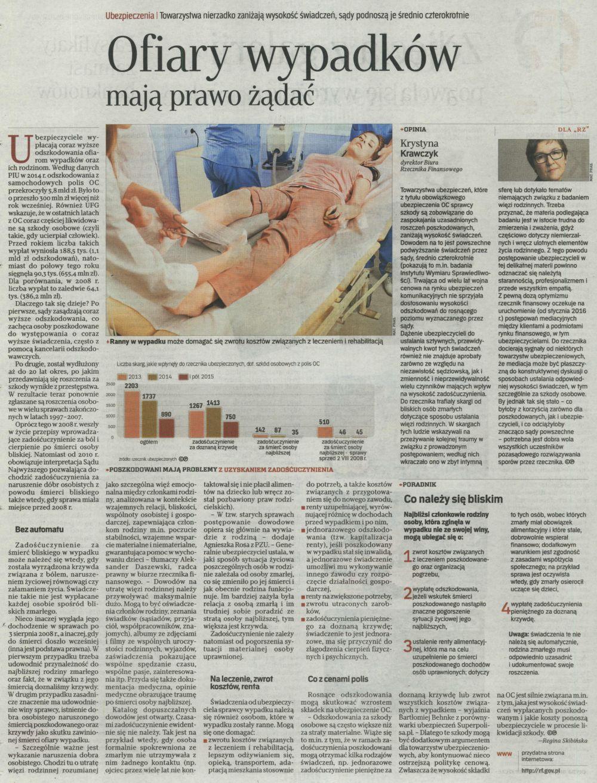 """""""Ofiary wypadków mają prawo żądać"""" – Rzeczpospolita"""