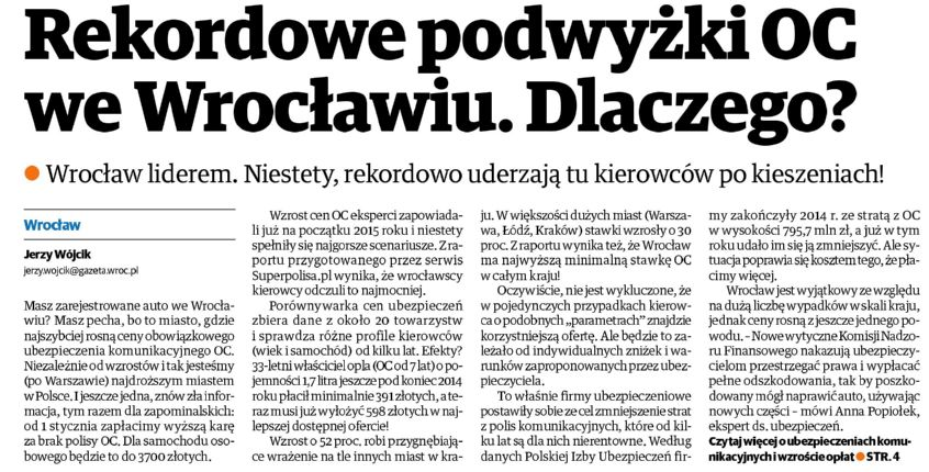 Rekordowe podwyżki OC we Wrocławiu. Dlaczego? – Gazeta Wrocławska