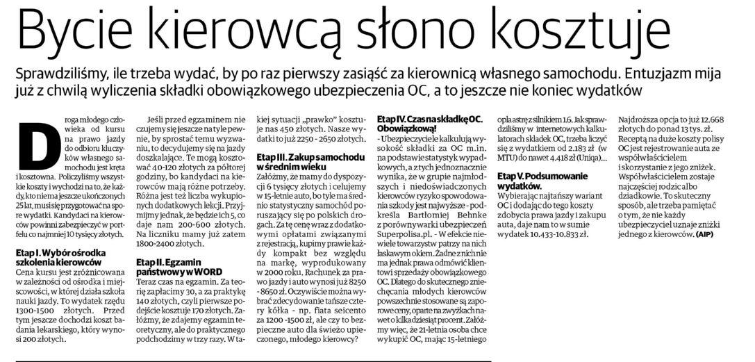 Bycie kierowcą słono kosztuje – Gazeta Pomorska