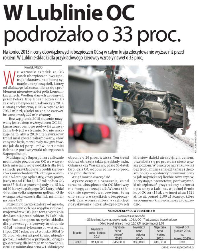 W Lublinie OC podrożało o 33 proc. – Dziennik Wschodni