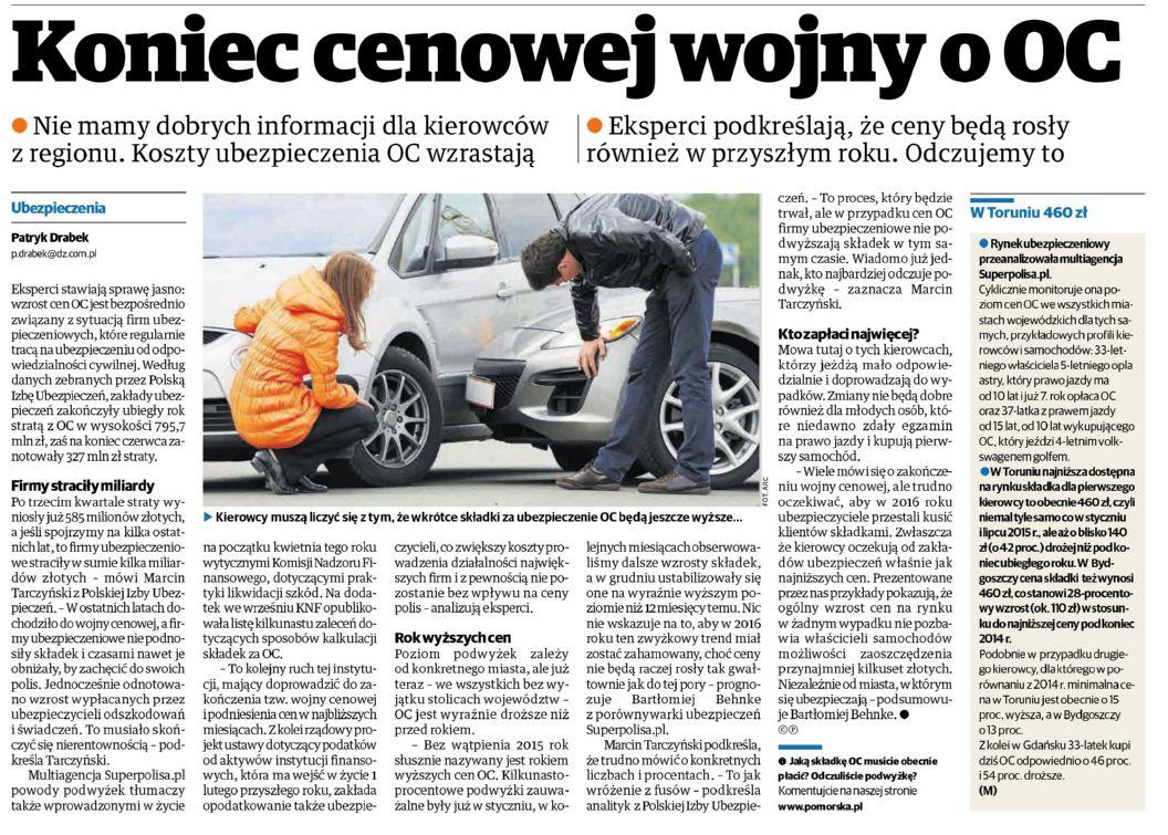 Koniec cenowej wojny o OC – Gazeta Pomorska