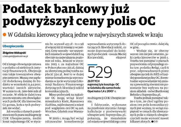 Podatek bankowy już podwyższył ceny polis OC – Dziennik Bałtycki