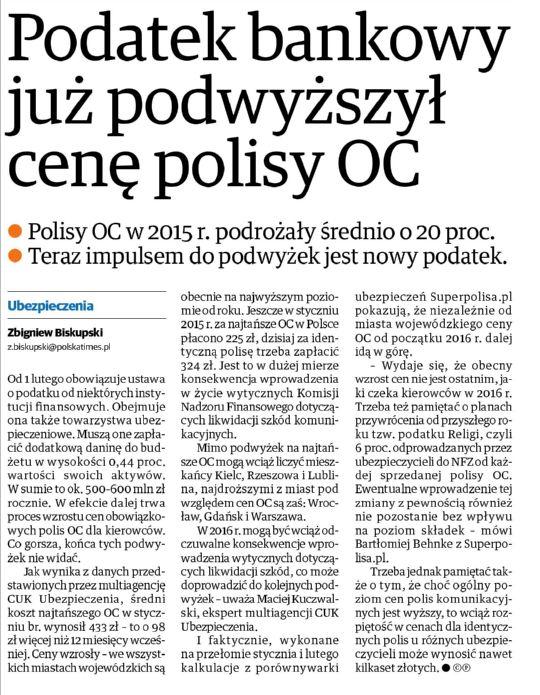 Podatek bankowy już podwyższył cenę polisy OC – Nowa Trybuna Opolska