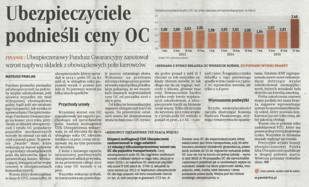 Ubezpieczyciele podnieśli ceny OC – Rzeczpospolita
