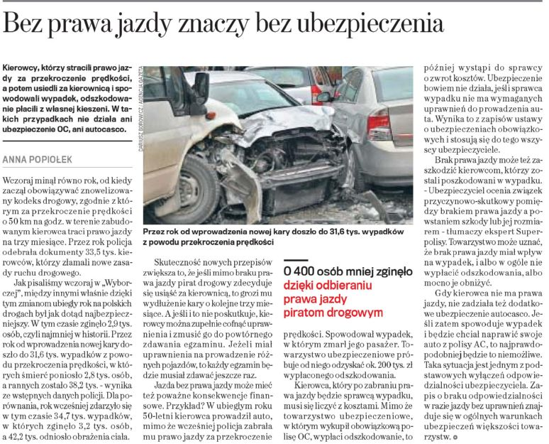 Bez prawa jazdy znaczy bez ubezpieczenia – Gazeta Wyborcza